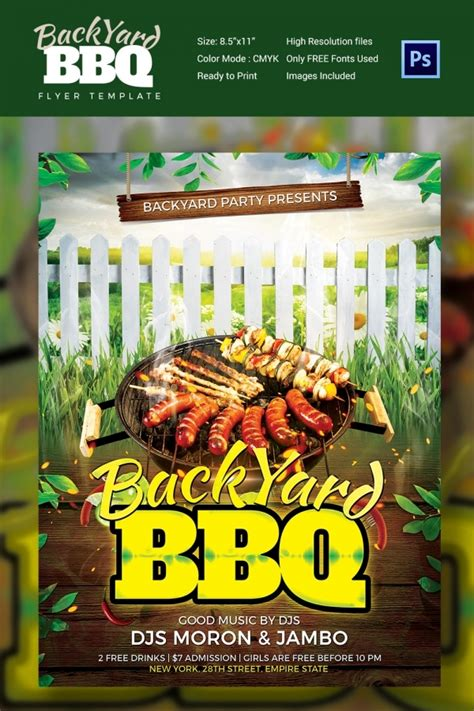 bbq flyer templates  word  psd eps