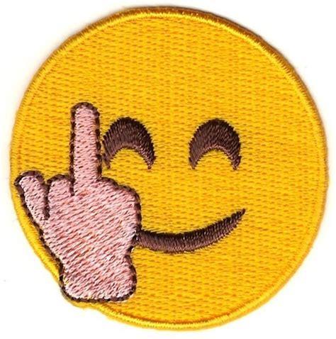 Middle Finger Images 2 Quot Smiley Middle Finger Emoji Sew On Patch Ebay