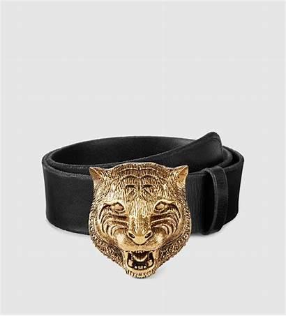 Gucci Belt Leather Buckle Feline Metallic