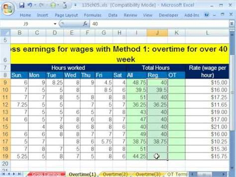 excel busn math  gross pay  overtime  examples