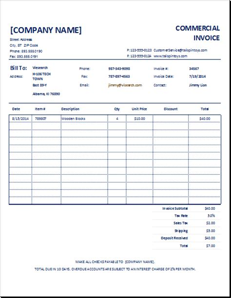 excel 2003 invoice template customizable commercial invoice template excel invoice