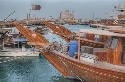 Fishing Boat Qatar by Photo 928 05 Traditional Dhow Boats In Fishing Harbor