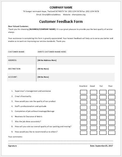 feedback template customer feedback forms for ms word excel excel templates