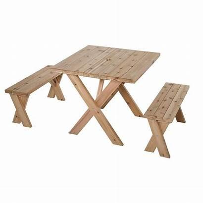 Table Picnic Cross Cedar Benches Inch Leg