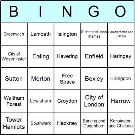London Boroughs Bingo Cards  Printable Bingo Activity, Game, And Templates