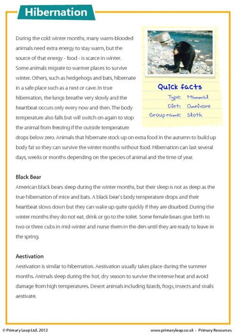 reading comprehension worksheets year 6 uk reading comprehension hibernation primaryleap co uk