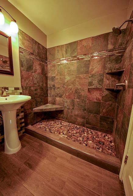 Wooden Base Floor Lamps by River Rock Shower Floor Bathroom Remodel
