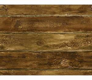 Walnut Faux Log Cabin Wallpaper