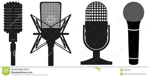 Icon Set Of Microphones Black Silhouette Stock Vector