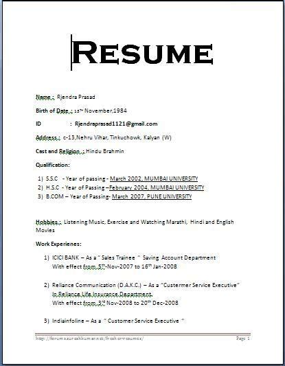 Fresher Resume Format In Word File by Simple Resume Format Whitneyport Daily