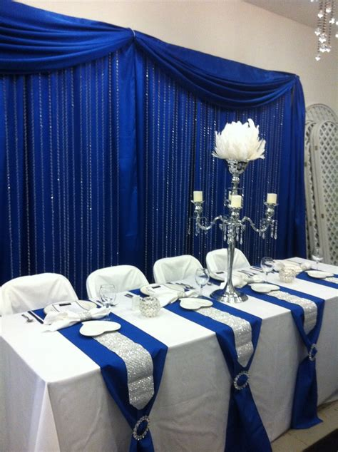 royal blue table decorations royal blue curtains head table with royal blue back drop