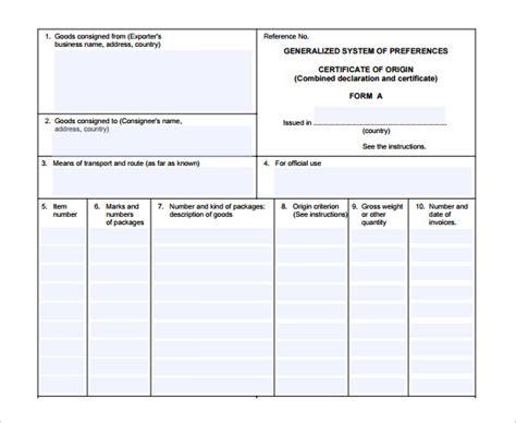 sample certificate  origin template   documents