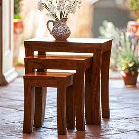 Carissa Set carissa stool set of 3 nesting bedside tables indian
