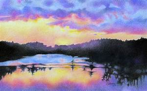 Pencil Drawings: Colored Pencil Sunset Drawings