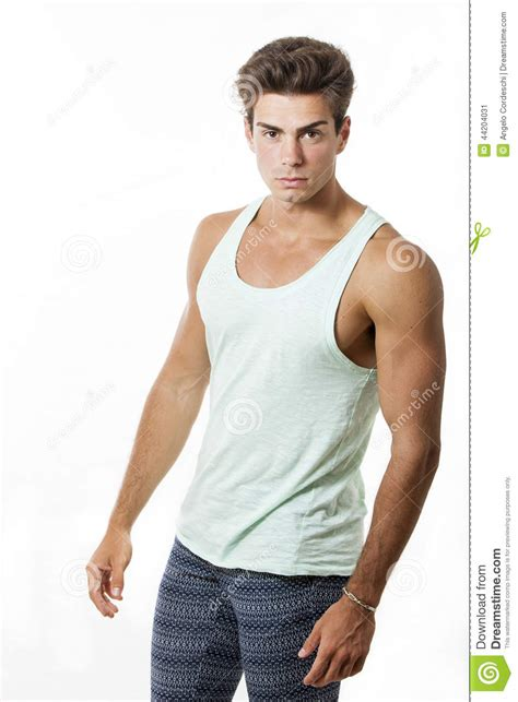 young beautiful  muscular man model outfit stock image image