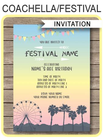 coachella themed party invitations template printable