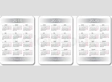 Vector pocket calendar set 2018, 2019 and 2020 years