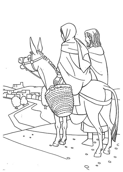 mary   donkey  joseph  bethlehem coloring pages  place  color