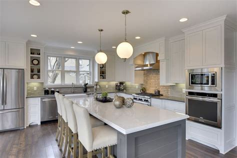 white kitchen island with breakfast bar 30 gray and white kitchen ideas designing idea
