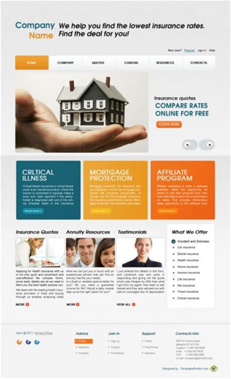 Get 1,337 insurance website templates on themeforest. Free home insurance business web template   Templates Perfect