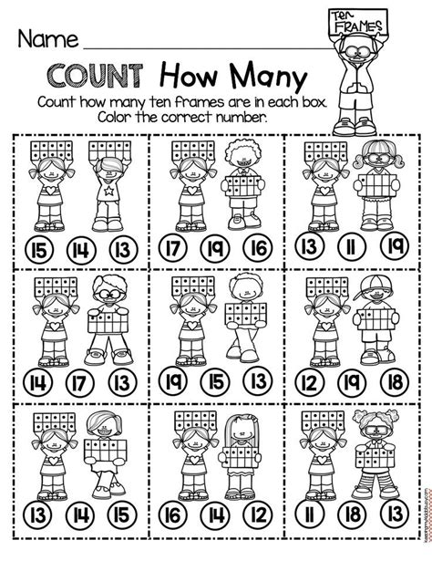teen numbers count how many worksheet easy no prep