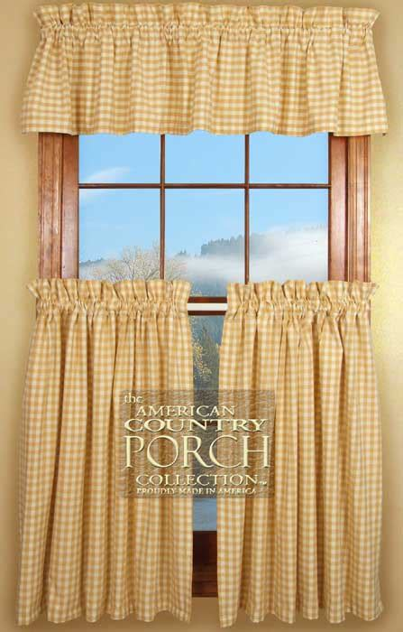 cottage tan check curtain valances