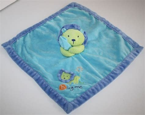 Carters Just One Year Hug Me Lion Security Blanket Blue Green Aqua Soft Toy 16
