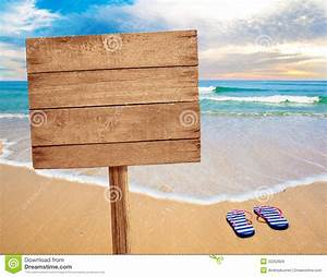 Wood sign on beach stock image Image of billboard