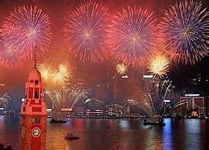 Hong Kong New Year Countdown And Fireworks