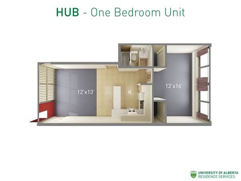 Floorplan With Dimensions For One-bedroom Unit In Hub