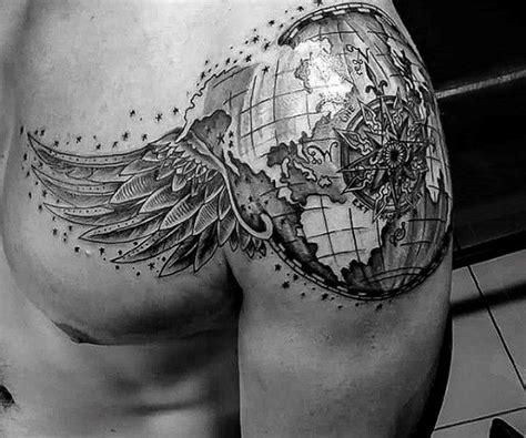 globe tattoo designs  men traveler ink ideas