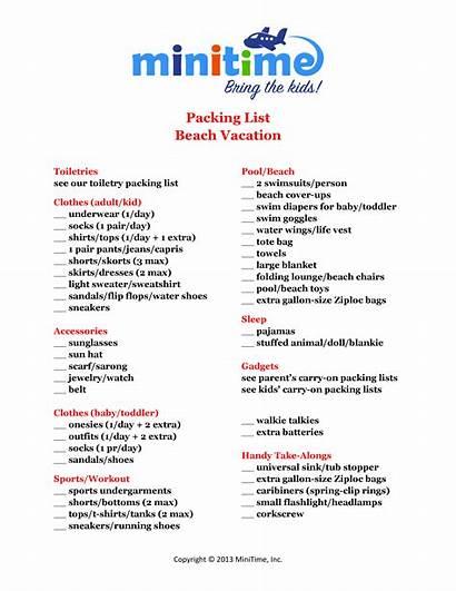 Packing Vacation Beach Printable Pack Florida Checklist