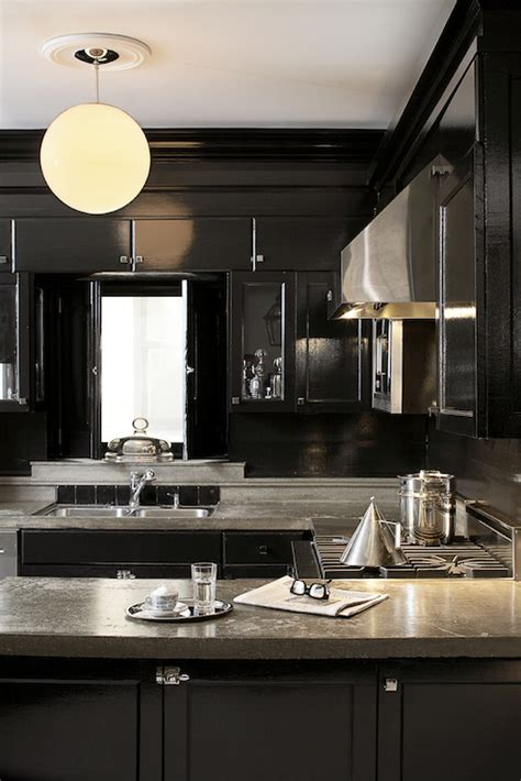 black lacquer cabinets eclectic kitchen leo designs