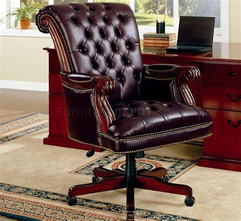 traditional burgundy vinyl executive chair w nailhead trim
