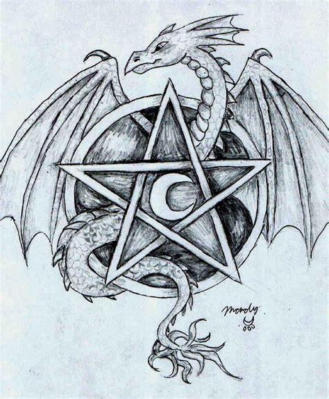 dragon pentacle crescent moon tattoo    perfect dragons