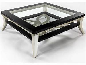 artmax 42 x 165 square black espresso silver leaf With silver square coffee table
