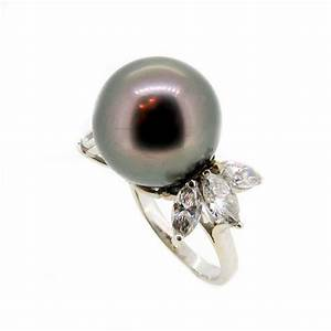black tahitian pearl diamond engagement ring anniversary With tahitian pearl wedding rings