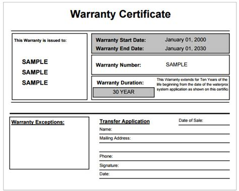 warranty certificate template  word templates