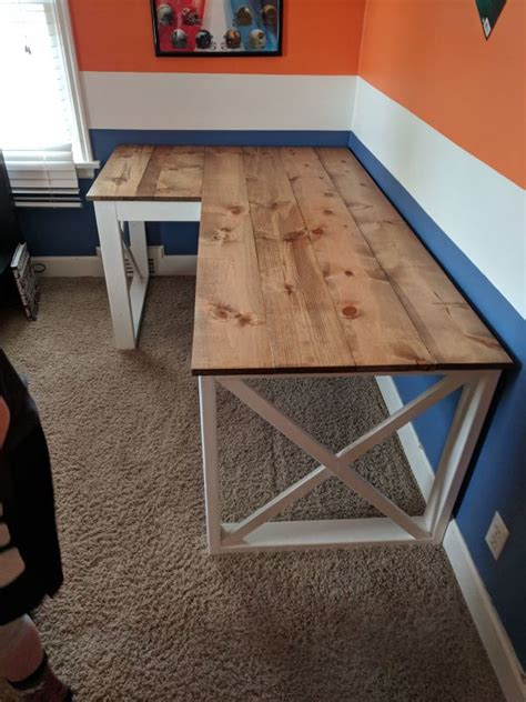 shaped double  desk   diy crafts desk diy