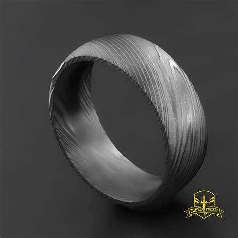 handmade damascus steel wedding band  men damascus