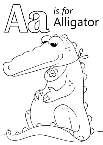 Letter A is for Alligator coloring page from Letter A