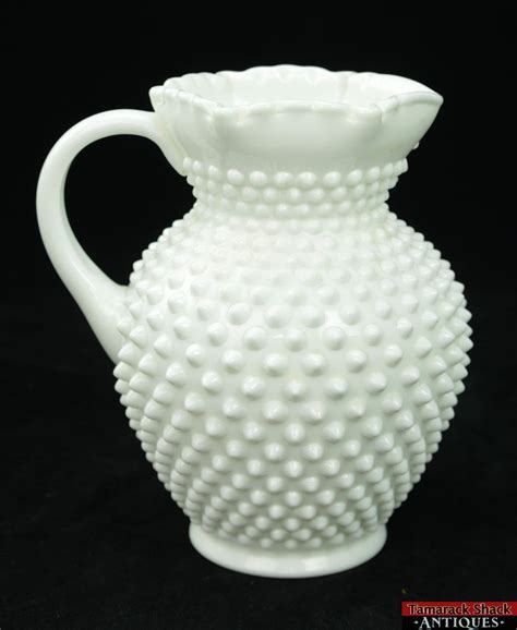 vintage white hobnail milk glass l vintage fenton hobnail white milk glass 54oz large 8 1 4