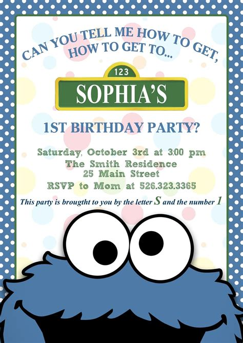 Cookie Invitation Template by Printable Cookie Sesame Birthday Or Baby