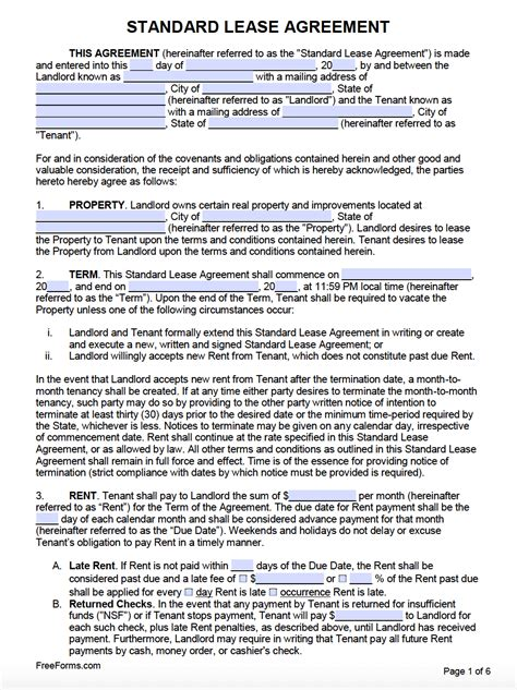 rental lease agreement templates  word