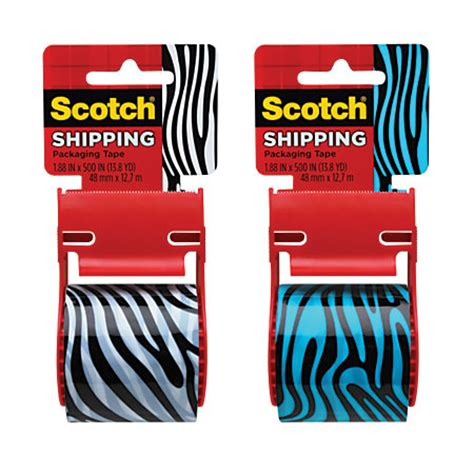 scotch decorative shipping and packaging with dispenser 2 x 13 8 yd blackwhite or