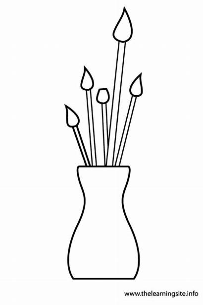 Paint Vase Brushes Outline Coloring Flashcards Materials