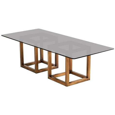smoked glass dining table spectacular milo baughman bronze and smoked glass dining