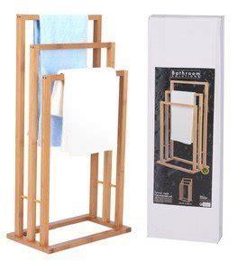 porte serviette en bois bambou 3 bras pour salle de bain fr cuisine maison