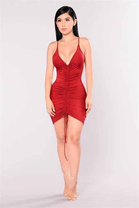 Dress Shanghai shanghai ruched dress burgundy