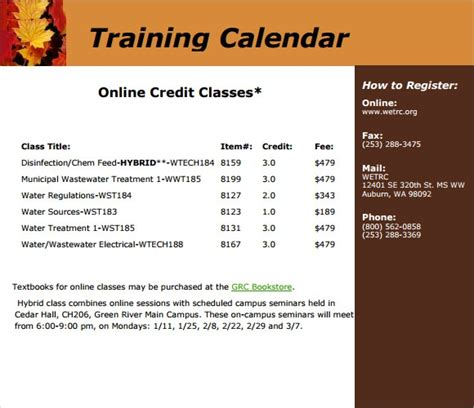 training calendar templates  samples examples